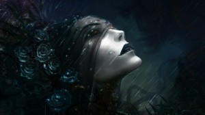 dark-gothic-girl-in-rainy-water-with-dark-purple-roses-and-cloth-covers-wallpaper-dark-fantasy-picture-gothic-computer-wallpaper-ic-1050255818