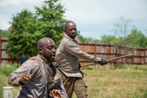Lennie James as Morgan Jones and LaBrandon Shead as Hulking Wolf- The Walking Dead _ Season 6, Episode 2 - Photo Credit: Gene Page/AMC