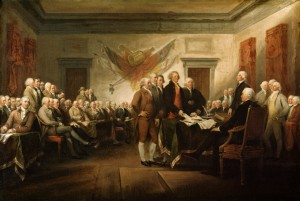 Original caption: Painting by John Trumbull depicting the signing of the Declaration of Independence. ca. 1786-1819